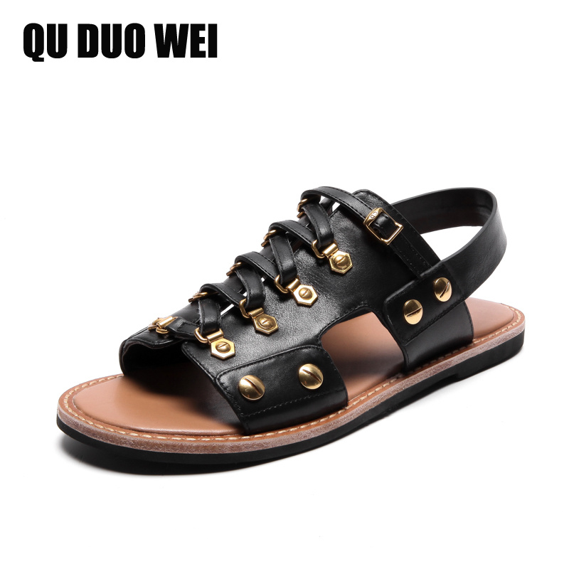 cow leather gladiator sandals for women 2018 new summer shoes open toe fashion rivet flat beach sandals black women flip flops new arrival top quality aged leather women sandals fashion summer gladiator dress shoes women roman open toe flat casual shoes