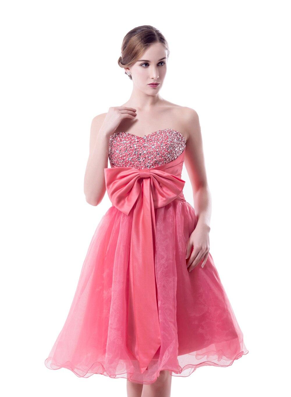 2017 Nueva Hot Pink Short Prom Vestidos Con Cuentas de Lentejuelas ...