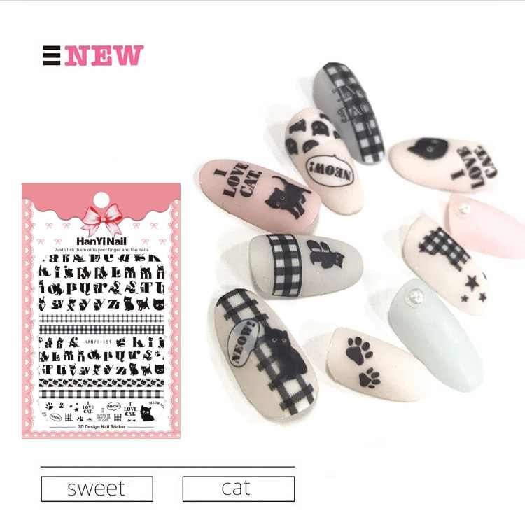 HanYiNail 135-152 2018 New Spring Lucky Cat Fantacy Flowers Nails Art Sticker Harajuku Nail Wrap Sticker Tips Manicura stickers