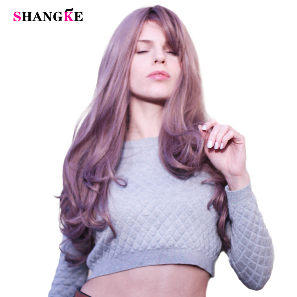 SHANGKE 26'' Long Wavy Blonde <font><b>Wigs</b></font> Blonde Heat Resistant Synthetic Female <font><b>Wigs</b></font> For White Women Fake Hair Pieces