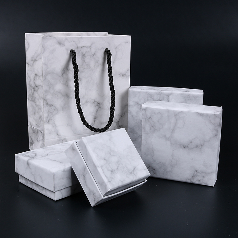 2018 NEW  1pcs   Jewelry Package ,different Size Marbling Kraft Paper Box For Earring/ring /bracelet Jewelry Bag Bag/ Box A9