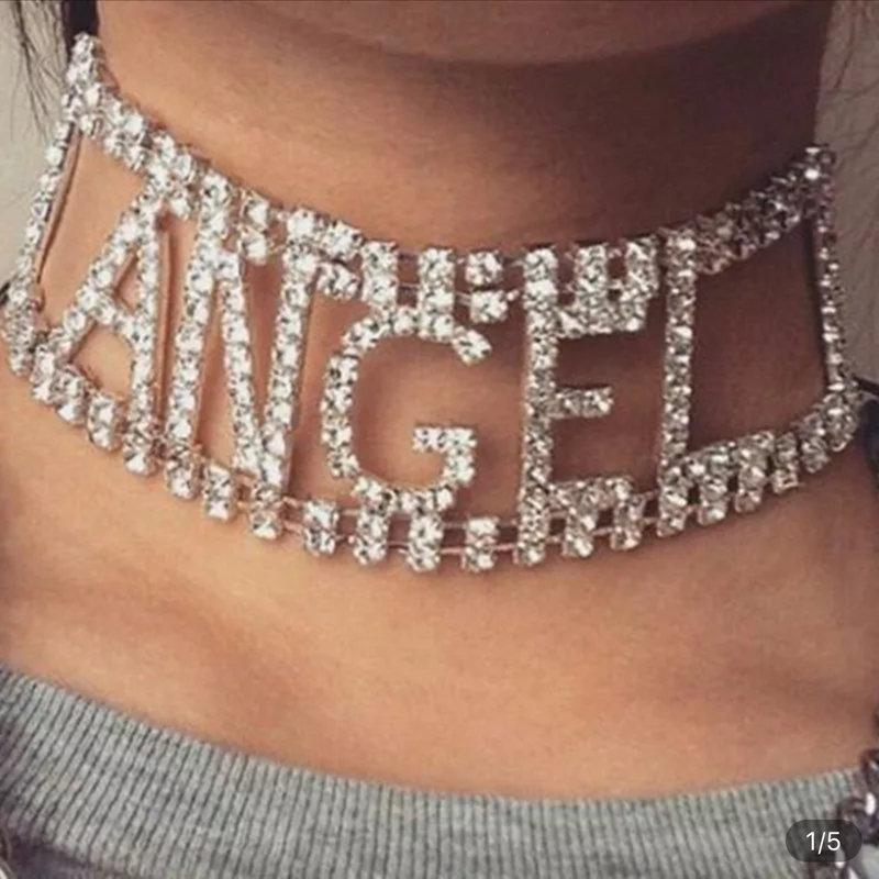 ANGEL Rhinestone choker letter Necklace for Women crystal statement Chocker