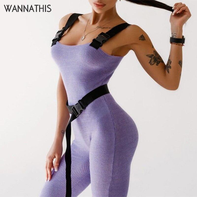 WannaThis Stirp Jumpsuit Buckle And Belt Slim Rompers Sexy Women Leggings Jumpsuits Streetwear Fashion Set One Piece Jumpsuit