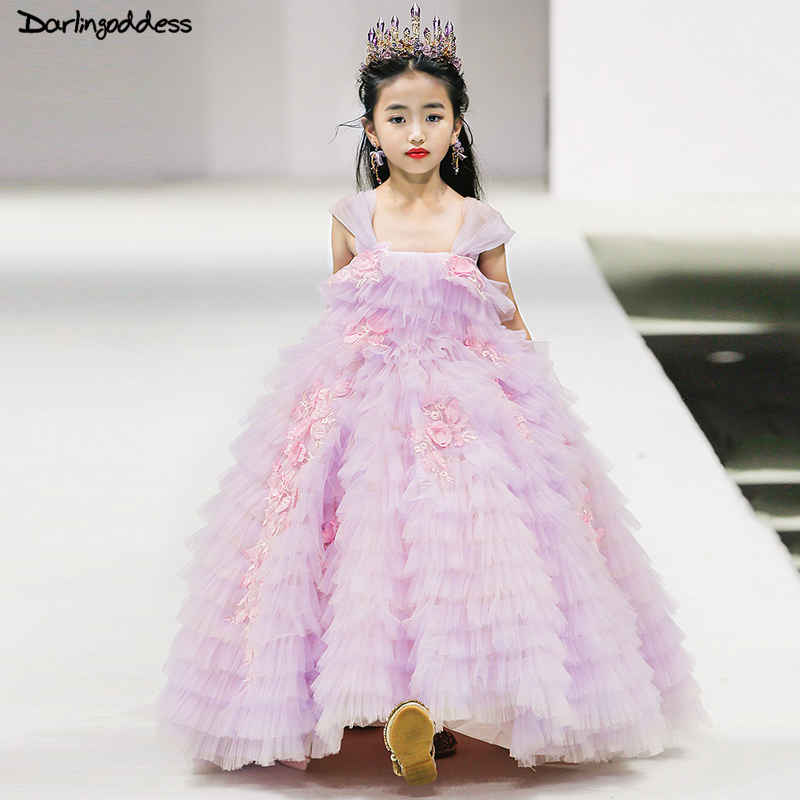 Elegant Purple Pageant Dresses For Girls Glitz Ball Gown Flower Girl Dresses For Weddings Lace Evening Party Dress For Girls Kid