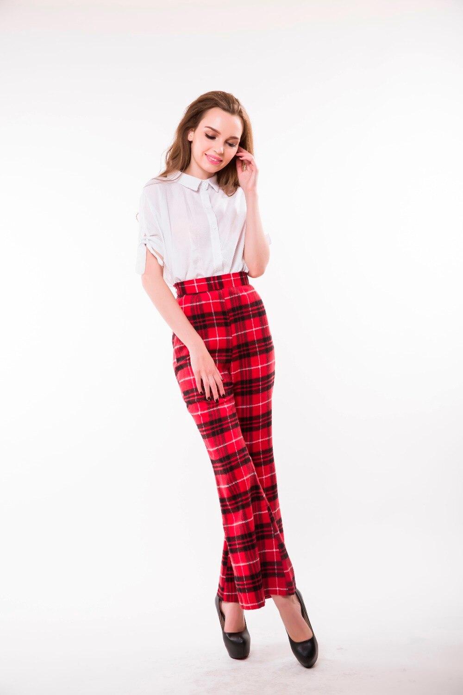 d37b378c0698b WBCTW Wool Woman Pants High Waist Elegant Red Plaid Long Pant 6XL ...