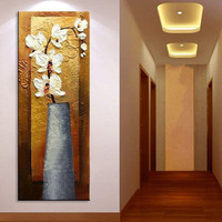 Handpainted Abstract White Flower Oil Painting Handmade Knife Canvas Floral Paintings Home Decor Wall Art Large Corridor Picture