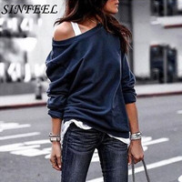SINFEEL S-3XL Sexy Off Shoulder Sweatshirt Women Autumn Winter Long Sleeve Clothing Female Pullovers Sudadera Mujer Plus Size