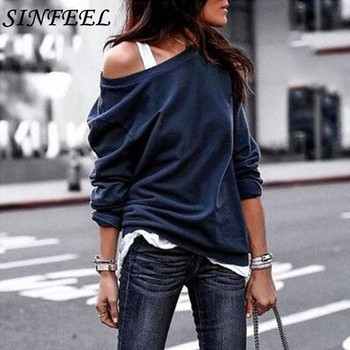 SINFEEL S-3XL Sexy Off Shoulder Sweatshirt Women Autumn Winter Long Sleeve Clothing Female Pullovers sudadera mujer plus size plus open shoulder sweatshirt