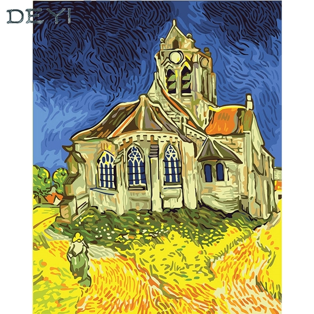 DEYI 40*50cm Hand Oil Painting Orville\'s Church Decorative Linen ...