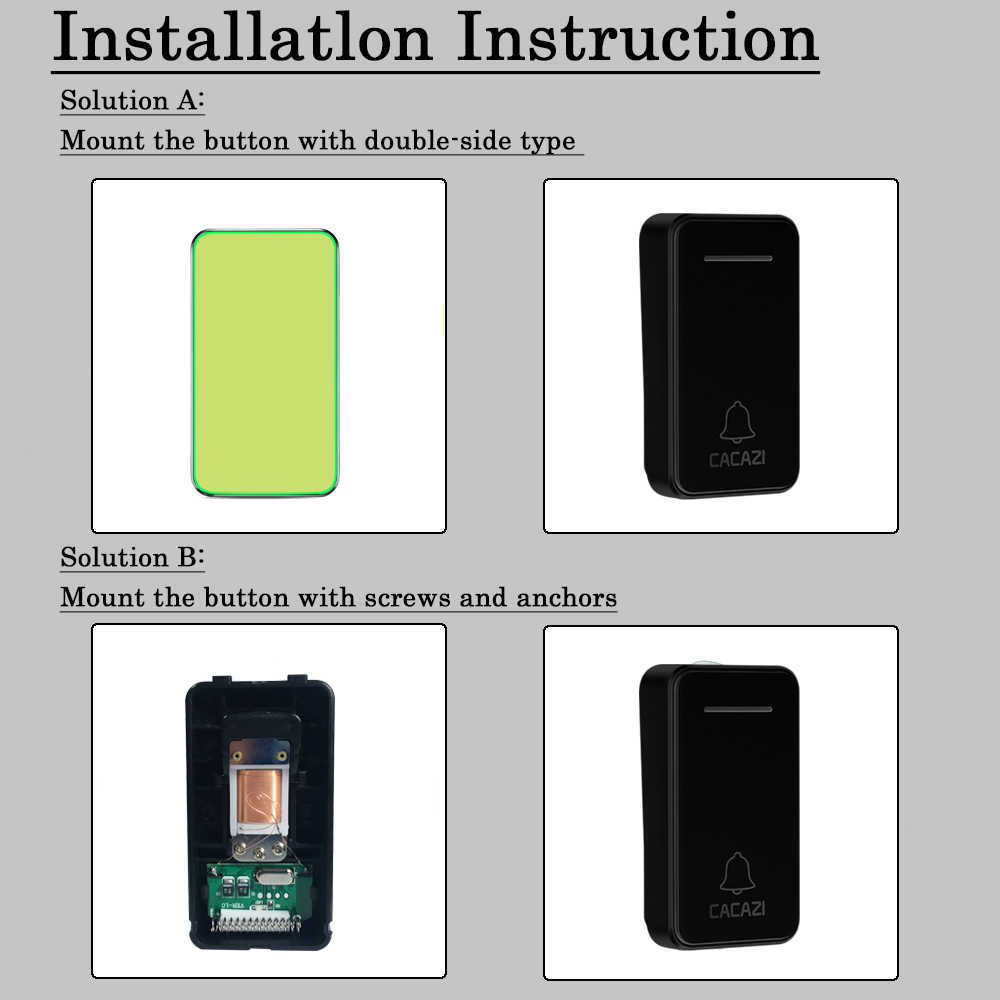CACAZI impermeable hogar timbre inalámbrico luz LED autoalimentado sin batería campana inalámbrica enchufe UE 48 Chime 1 botón 1 2 receptor