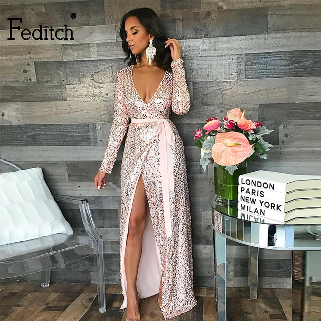 0657d7b02c1 Feditch Sexy Sequin Maxi Dress Women Long Sleeve Bodycon V Neck Women Dress  Split Slim Elegant Long Party Dresses Club Vestidos