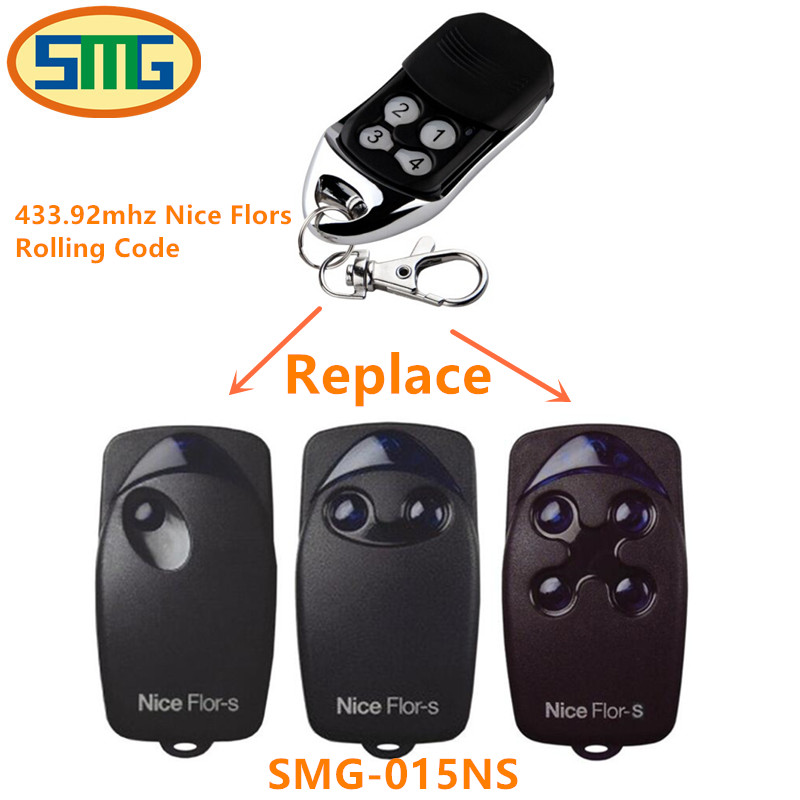 2pcs compatible NICE FLORS 433.92mhz remote control for garage door with battery