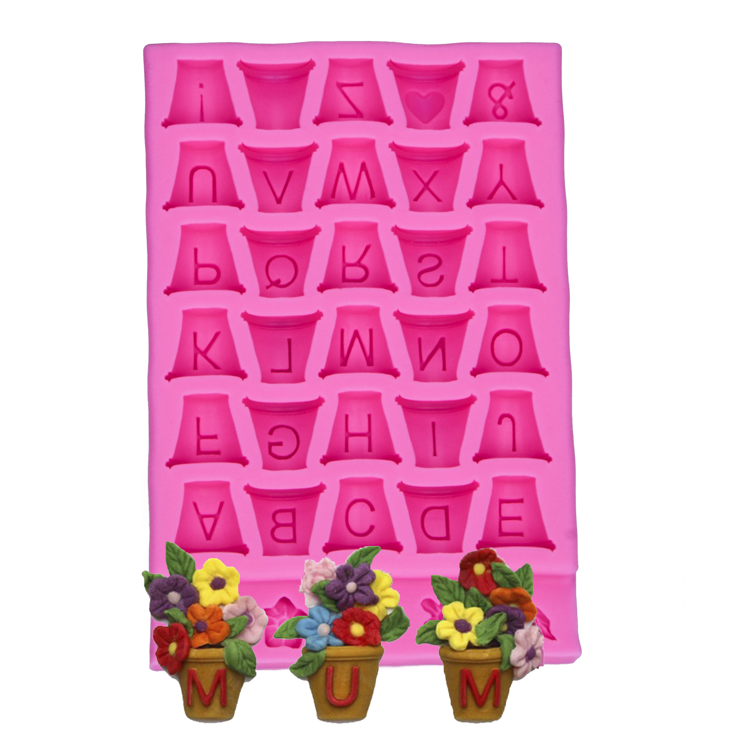 26 letter flowerpot 3D Reverse sugar molding Food Grade silicone mould polymer clay molds chocolate cake decoration tools F-1172