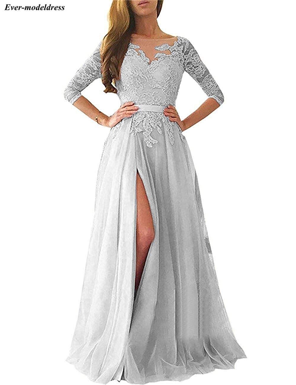 Купить с кэшбэком Blush Pink Bridesmaid Dresses 2020 Sexy A-Line High Split Backless Lace Long Sleeve Floor Length Wedding Guest Prom Party Dress