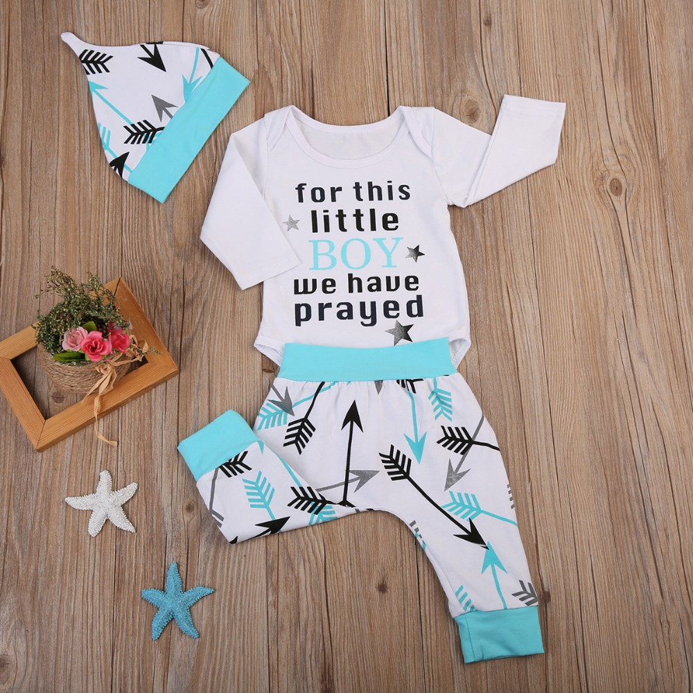 298412e69 Puseky Long Sleeve Newborn Baby Boy Clothes Set Cute Little Boy Pray ...