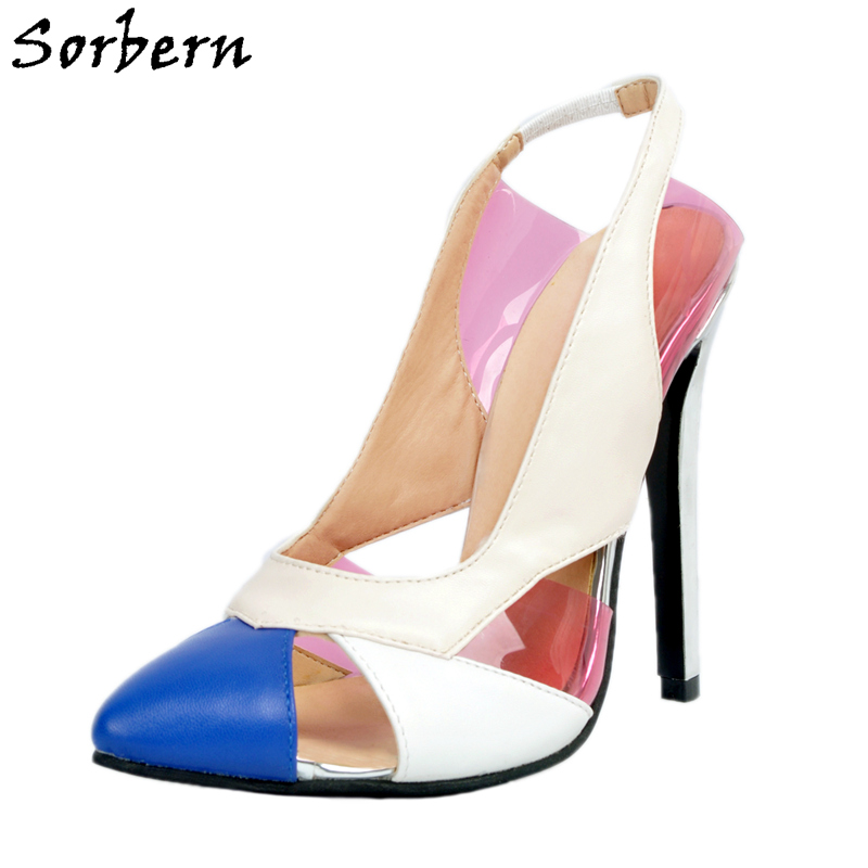 Sorbern Mix Color Pointed Toe Slingbacks High Heels Sexy Pumps Hollow Out 2018 Ladies Heel Shoes Plus Size White Blue Shoes Ol laptop cpu cooling fan