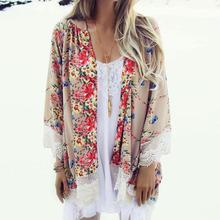 2016Fashion Floral Chiffon Kimono Women Cardigan Elegant  Lace Women Flower Print Chiffon Blouse Shirt Women Loose Kimono jacket