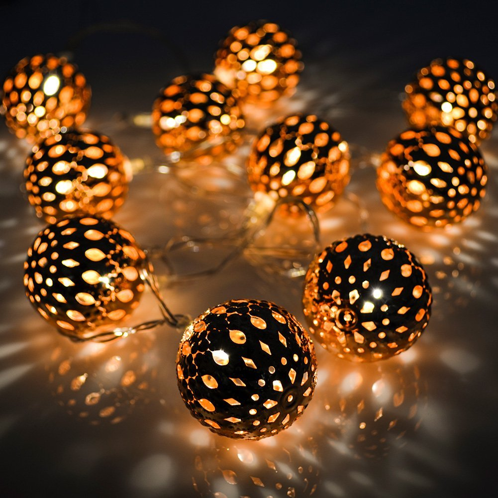 Crazyfire 5 6ft 10 Led String Lights Copper Moroccan Orb Fairy Festival Ambiance Lighting Christmas Wedding Party In Strings From