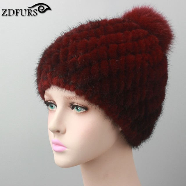 Hot sale real mink fur hat for women winter knitted mink fur beanies cap with fox fur pom poms 2016 brand new thick female cap