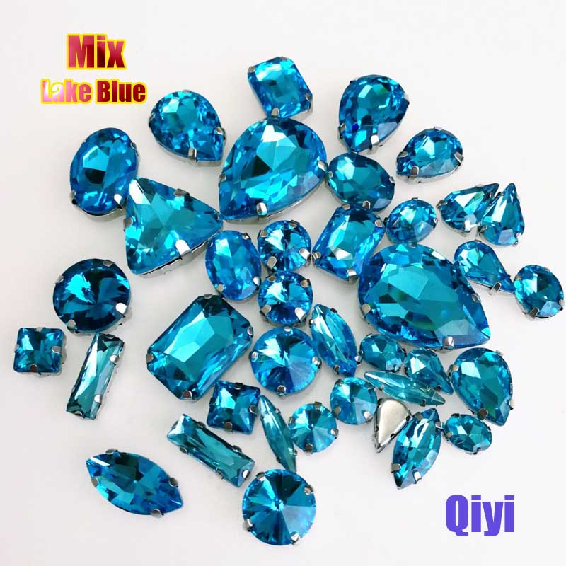 Vendre à perte! 50 pcs/sac de haute qualité forme mixte lac bleu en verre coudre sur griffe strass, bricolage vêtements accessoires SWM07