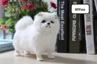 cute real life chow chow dog model plastic&furs white dog doll gift about 20x16x9cm xf1569