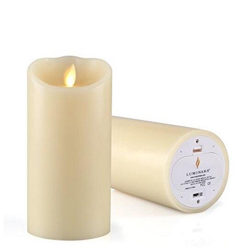 7 pouce Noël LED Bougie Vague Sans Flamme Batterie Exploité Électronique Lumière Bougie Pilier Ivoire Bougie Lampe De Mariage D'anniversaire Décembre