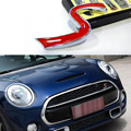 Dongzhen Auto Car Styling 3D Metal S Front Grille Emblem for Mini Cooper R50 R52 R53 R56 JCW Grill Badge Sticker Accessories