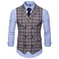 Plaid Vest Men Waistcoat Autumn Qinter 2019 New Arrival High quality Men's Casual Plaid Double breasted Waistcoat