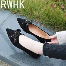 RWHK 2019 spring new pointed suede shallow mouth single shoes rivet bow flats B443 women s pointed shallow mouth set foot flow threo bow tie knot casual single layer shoes