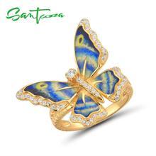 SANTUZZA Silber Ringe Für Frauen Echtes 925 Sterling Silber Gold Farbe Blau Schmetterling Feine Trendy Schmuck Handgemachte Emaille