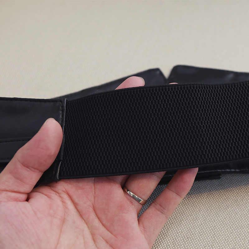 Moda mujer Peplum ancho PU elástico cinturones Slim Corset negro Faux cuero vestido ceñido en la cintura cinturón faja cinturones con hebilla