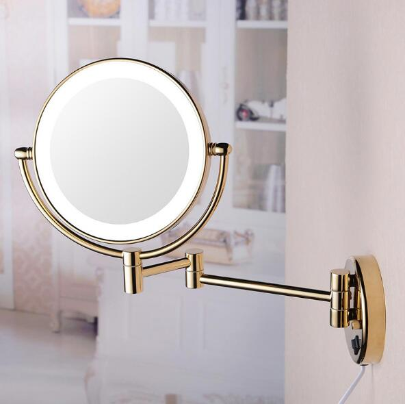 Hot Bathroom Gold Wall Mounted 8 inch Brass 3X/1X Magnifying Mirror LED Light Folding Makeup Mirror Cosmetic Mirror Lady Gift professional 8 inch led light wall mounted folding cosmetic mirror 5x magnifying led makeup mirror bathroom mirror for gift