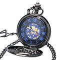 2016 Presente de Natal Clássico Steampunk Relógio de Bolso Números Romanos Dial Mens watch mão enrolamento Mecânico Esqueleto de Aço Preto Corda