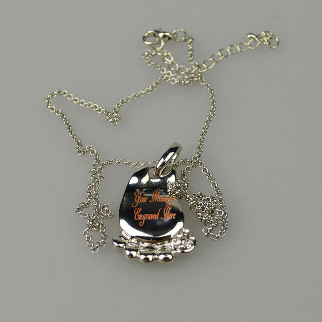 Engraved Baby Foot Christening Pendant