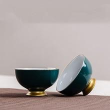 2PCS/Lot 80ml Creative Porcelain Tea Cups Green Glaze Gold Plated Teacups Office Kung Fu Tea Set Drinkware Small Tea Bowls Cup