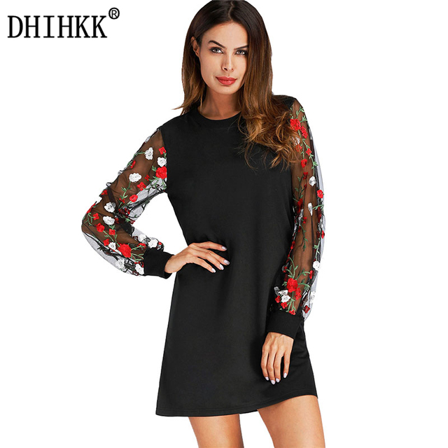 DHIHKK 2018 Tunic Dress With Embroidered Mesh Bishop Sleeve Black Long  Sleeve Autumn And Summer Dress ab09c863d985
