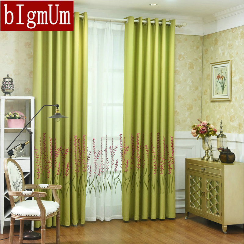 Floral Embroidered Tulle And Linen Curtains Green/ Blue