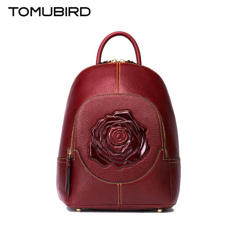 TOMUBIRD Superior cowhide Rose Embossed famous brand women bag luxury genuine leather backpack women bags tote tomubird new superior cowhide leather designer rose embossed famous brand women bag fashion tote women genuine leather bag