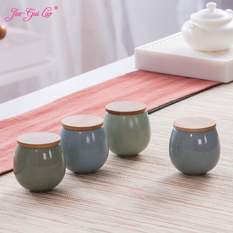 JIA-GUI LUO Tea cans with bamboo cover tea storage box gift box ceramic cans portable tea accessorie 4 color styles D075