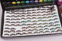 100pcs Copper Colorful Couple Rings Changable Word Love Mood Ring Gift & Jewelry Size 7 9#