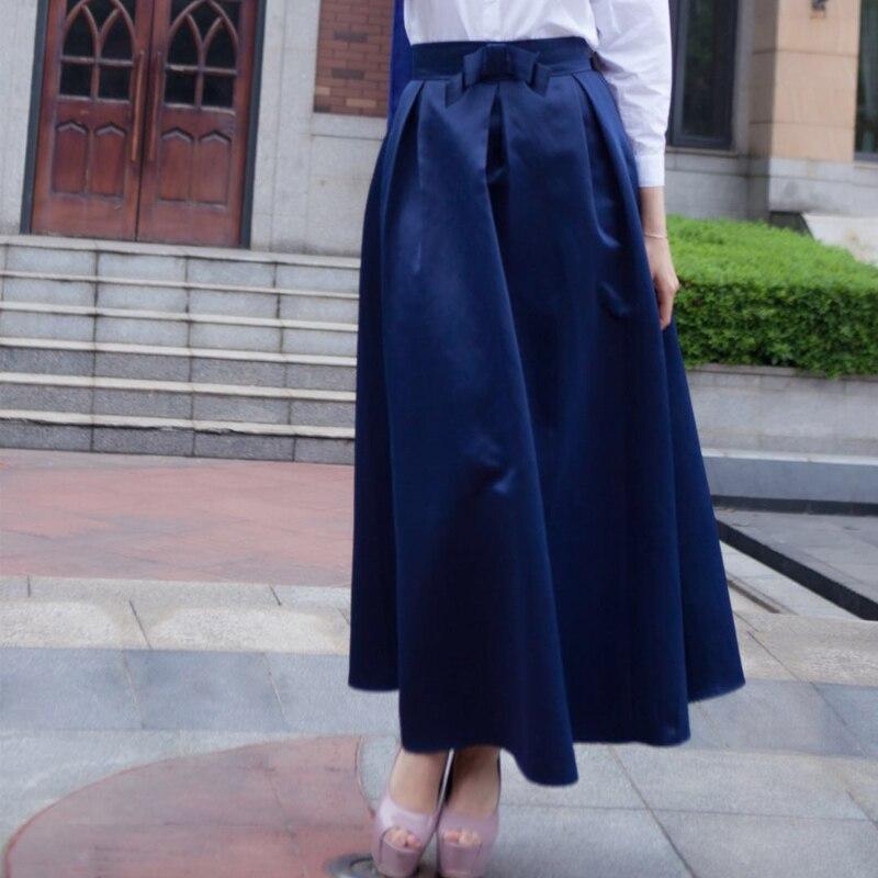 Plus Size Skirts Faldas Mujer Moda 19 Abaya Dubai Turkish Long Pleated Maxi High Waist Skirt Women Jupe Longue Femme Skirts 11