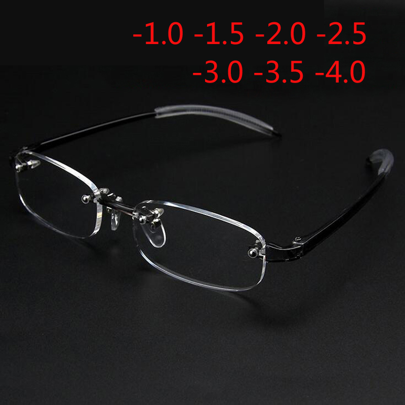 Nye Frameless Myopic Glasses Frame Eyeglasses Menn Kvinner Rimless Super Light Frame Myopi Glasses 100 ~ 400 grader