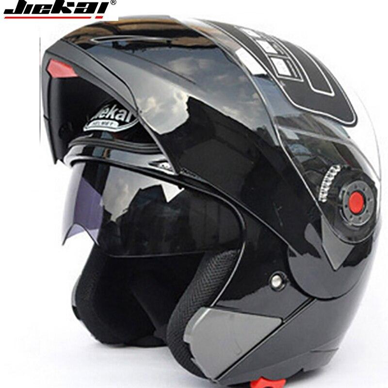 Moto Double Visière casques Modulaire Flip Up casque racing double lentille capacete casco moto DOT ECE casque JIEKAI 105