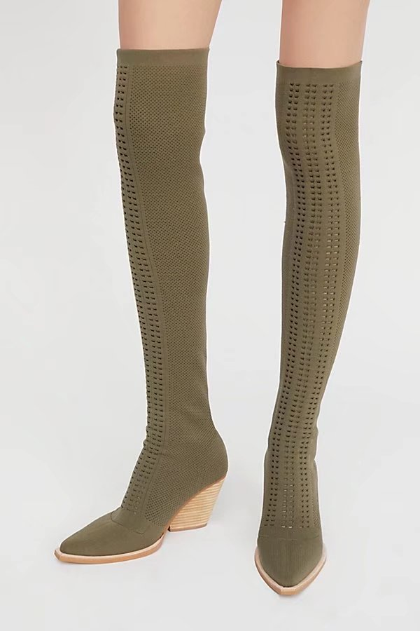 Spring New Women Army Green/Black Pointed Toe Knitting Cuts Out Hollow Out Slim Over The Knee High Boots Elastic Thigh Boots green fashion off shoulder hollow knee jumpsuit