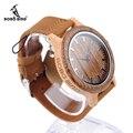 2017 nuevo lujo bobo bird reloj de cuarzo correa de cuero relojes mujeres de los hombres de bambú marca reloj relogio masculino c-m14