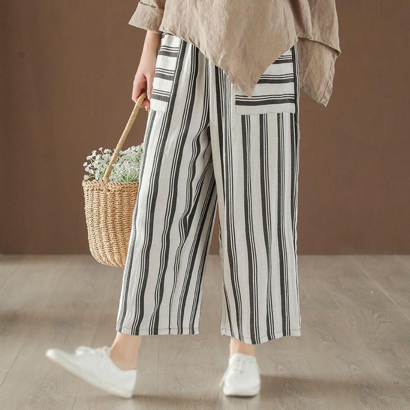 2019 Summer Women Striped   Pants   Elastic Waist Nine Length Female   Pants   Pockets Loose Casual Ramie Wide Leg   Pants