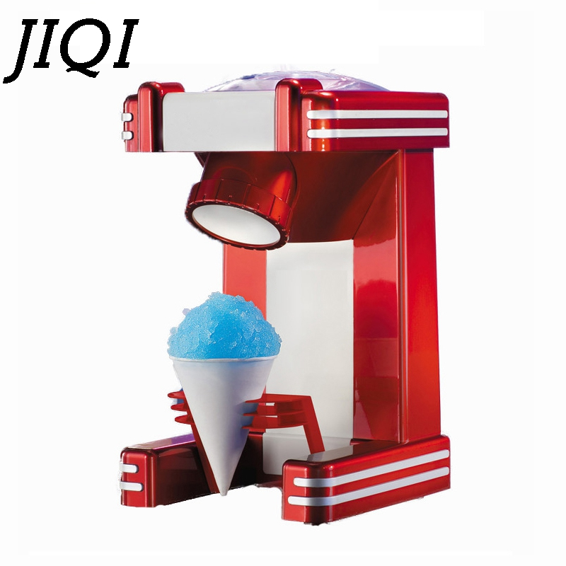 JIQI Mini Snow Drink Slushy Maker ice shaver block shaving machine ice crusher ice smoothies Snow Cone machine kitchen tools EU цены онлайн
