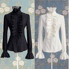 Викторианские женщины OL офис леди рубашка Высокая шея оборками манжеты рубашка блузка