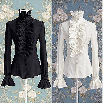 Victorian Women OL Office Lady Shirt High Neck Frilly Ruffle Cuffs Shirt Blouse