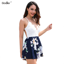 Godier Women Patchwork Lace V Neck Print Playsuit  Stiching Strap Backless Cross Jumpsuits Summer Clothes